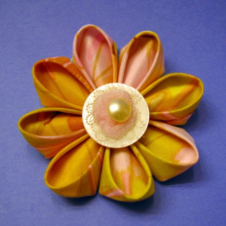 pink and yellow Kanzashi