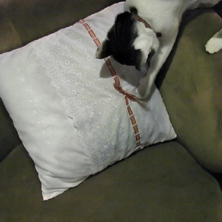 eyelet throw pillow
